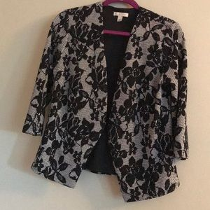 Black and white floral blazer style jacket